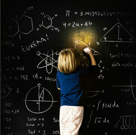 Genius Girl Solving Physics Problem
