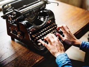 typing on a typewriter