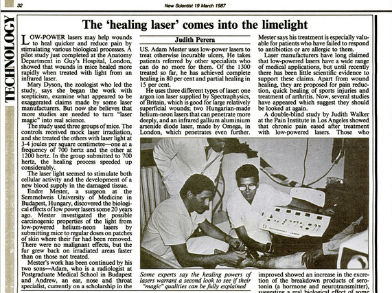 1987 crticle in New Scientist showing Adam Mester treating 'incurable' ulcers with lasers - red light therapy