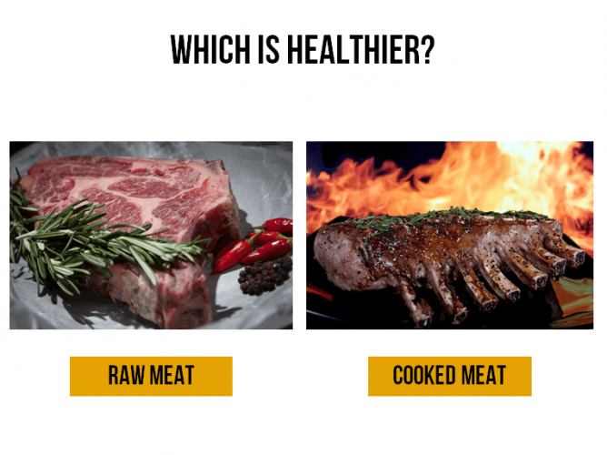 Which is healthier - raw meat or cooked meat?