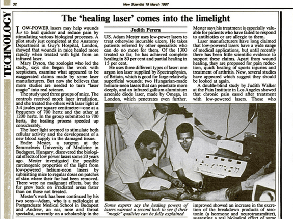 Dr Andre Mester's son Adam Mester Treating 'incurable' ulcers article from New Scientist (1987).