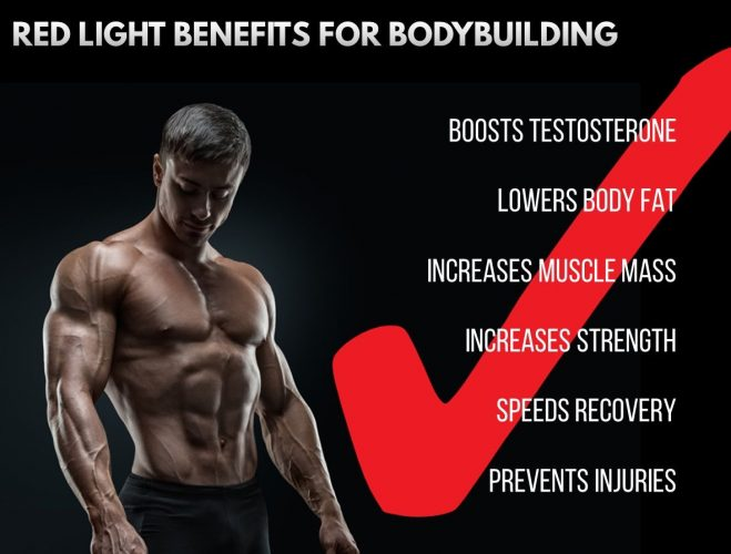 Red light therapy boosts testosterone, lowers body fat, increases muscle mass, increases strength, accelerates recovery and prevents injury.  What more could you want from a performance enhancer?