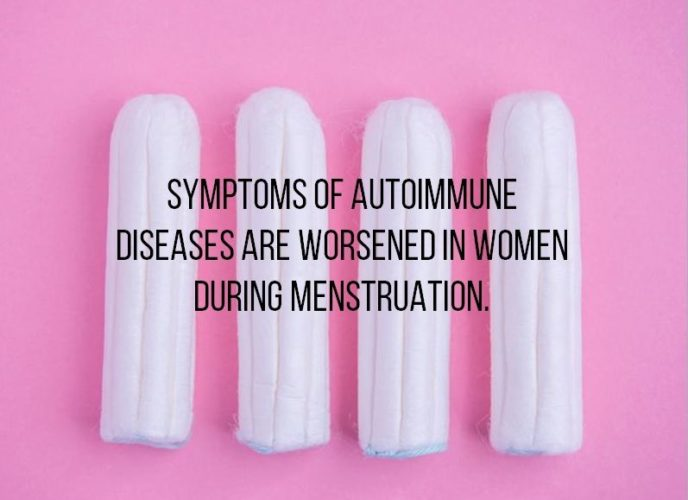 Autoimmune disease symptoms are worsened in women during menstruation due to high estrogen
